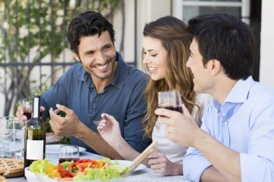 Guests at outdoor dinner party