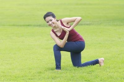The kneeling hip flexor stretch releases tension and realigns a tilted pelvis.