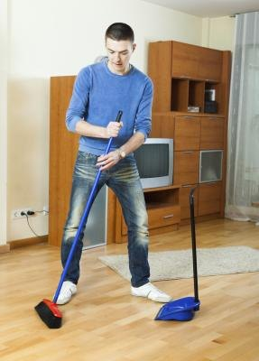 A broom and dustpan are necessities for any noncarpeted floors.