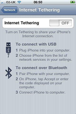 Bluetooth tethering.