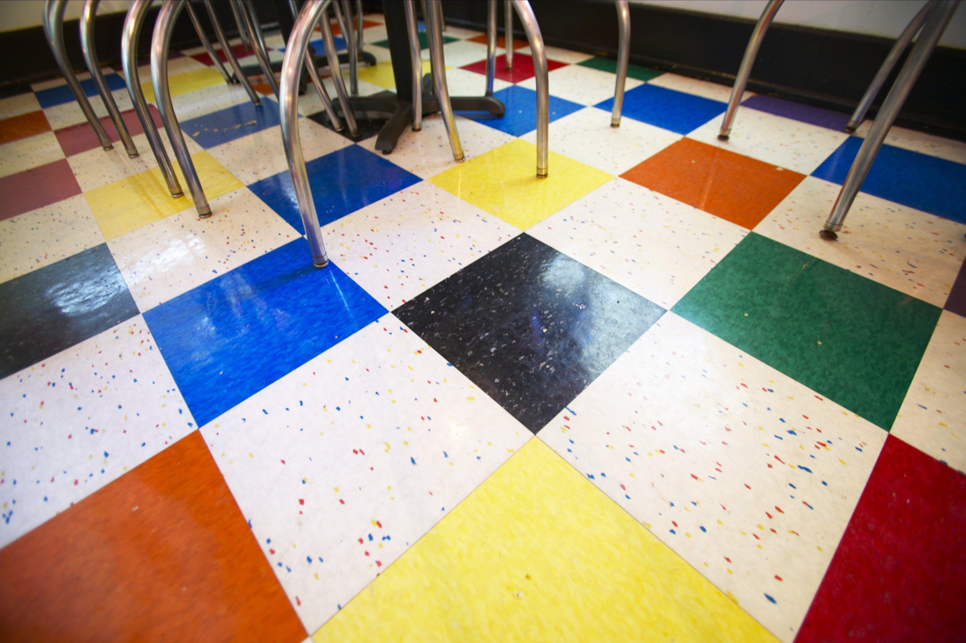 Colored floor tiles