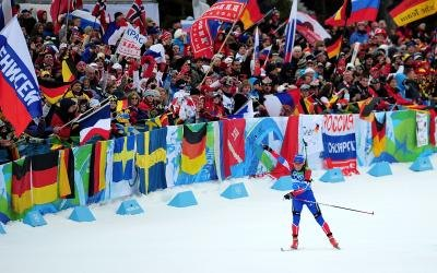 Global fans cheering skier