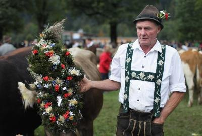 Older man in traditional Swiss outfit