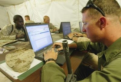 U.S. Marine takes advantage of down time at Al Asad Airbase in Iraq.
