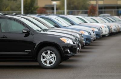 Row of SUV's at car dealership