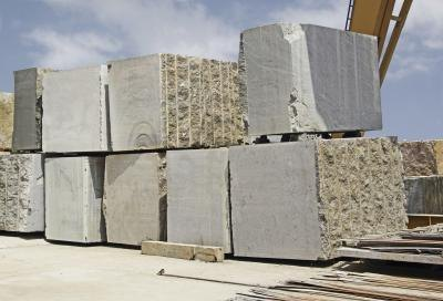 Granite blocks in a quarry.