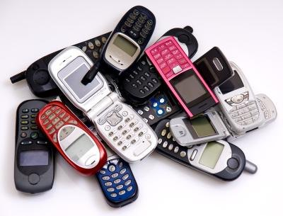 GSM phones in a pile.
