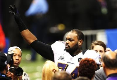 Michael Oher of Baltimore Raven's after football game