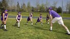 Softball Warm-Up Leg Stretching