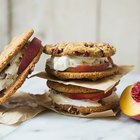 Peaches and Pecan Bourbon Ice Cream Sandwiches