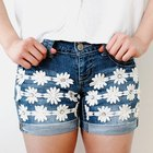 Embellish Denim Shorts With Gem and Flower Trim