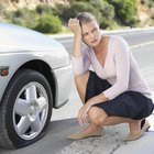 How to inflate a car tyre with a manual foot pump