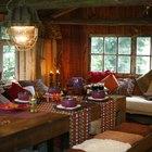 Interior lighting in a log cabin