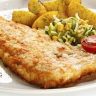 Baked fish fillet served with broccoli, green bean and potato