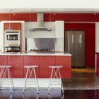 Red becomes an accent in the busy kitchen.