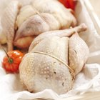 Preparing roast chicken with herbs and vegetables