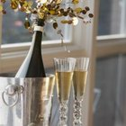 Add a little sparkle to a champagne glass display.
