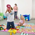 An open center allows flexible play space in the room.