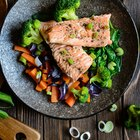 Fresh red salmon texture. Closeup