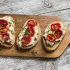 Italian crostini with various toppings