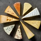 Pieces of sheep milk cheese