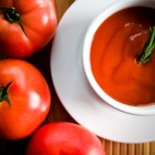 Tomato basil soup in a bowl with toast