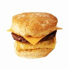 Biscuit, Sausage, egg & cheese. Breakfast sandwich cooking