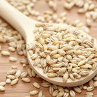 Wheat in ceramic bowl on rustic wooden background