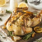 Roasted chicken with vegetables and leeks