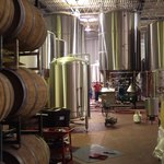 Oak barrels and large fermentation tanks of microbrewery in New York