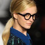 To create a '60s French pop inspired look, Designer Anna Sui put chunky black, round framed glasses on her runway models.