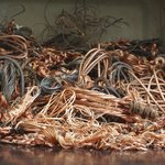 Copper wires being recycled at a scrap yard.