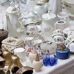 Antique porcelain at outdoor flea market
