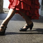 A flamenco dancers shoes.