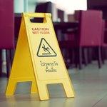 wet floor sign in dining room