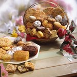 Give a basket of homemade baked goods.