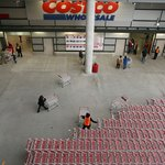 Shopping carts near entrance to Costco