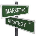 Marketing and strategy signs connecting.