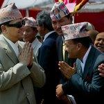 Nepalese King Gyanendra greating dignitaries