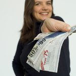 Woman with coupons.