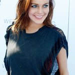 Lindsay Lohan does not shy away from blue.