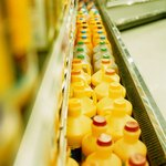 Row of juices inside supermarket