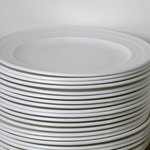 Stack of plates in kitchen