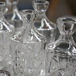 Close-up of crystal vases