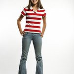 A collared T-shirt becomes a fab fashion with the neckline cut off.