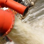 Water gushing at a desalinization plant