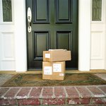 Boxes on doorstep of home