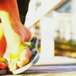 Flip flops on feet