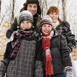 Family dressed in winter clothing