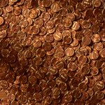 Pennies on the walls can create an interesting visual effect.